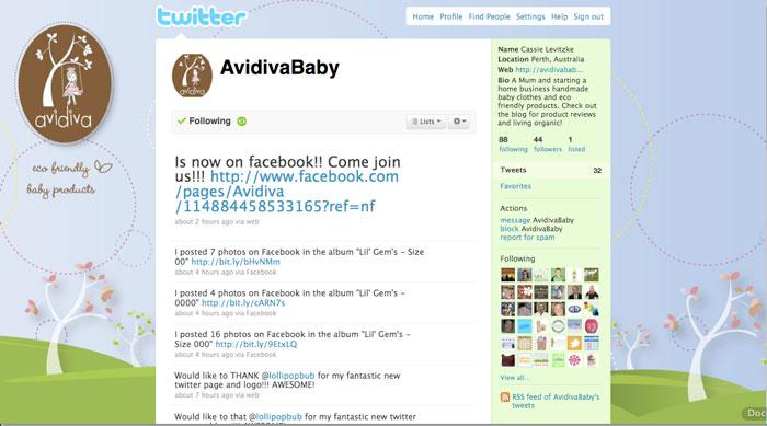 Avidiva Twitter Page