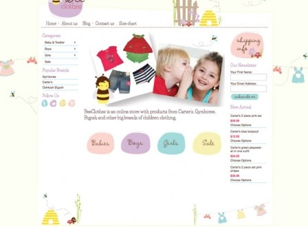 Bee Clothes Web Design using BigCommerce by Lollipop Creative Studio