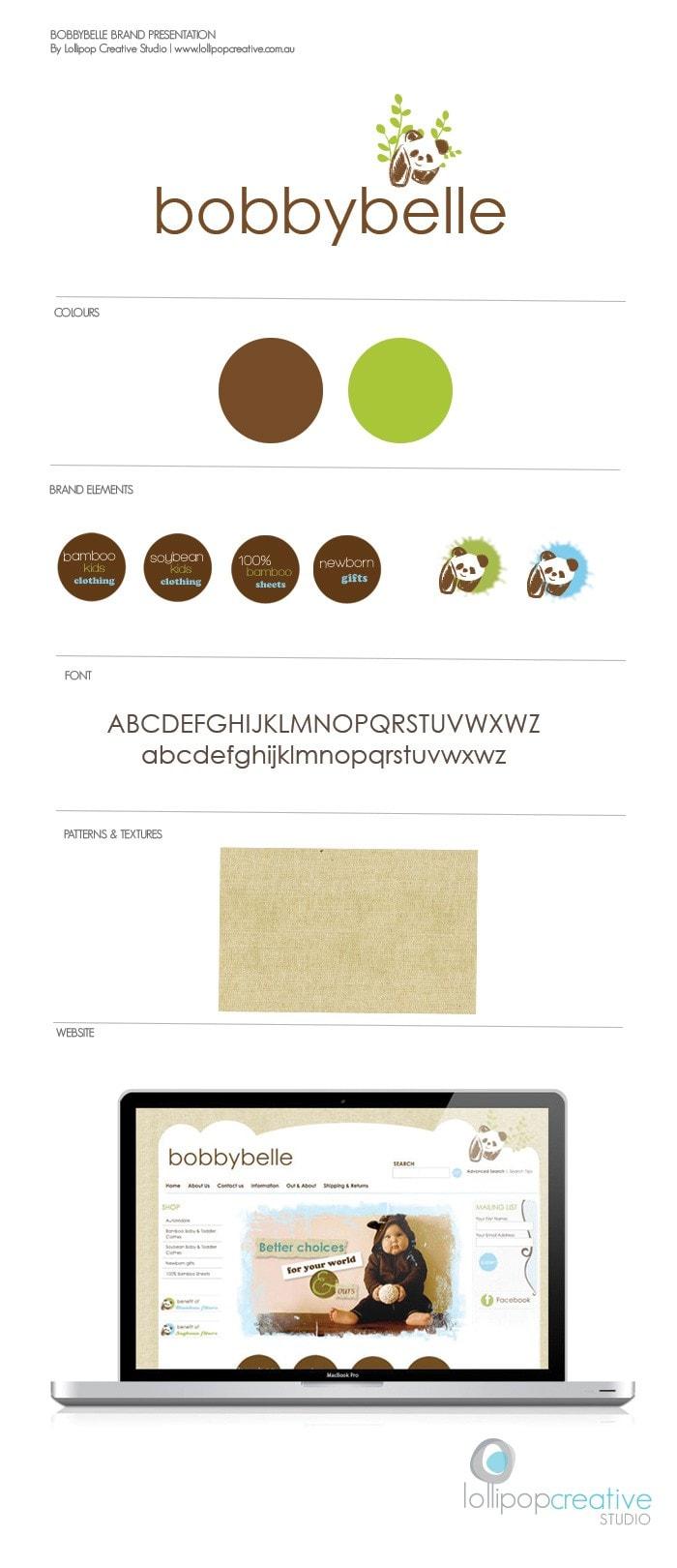 bobbybelle baby logo design, web design, brand board