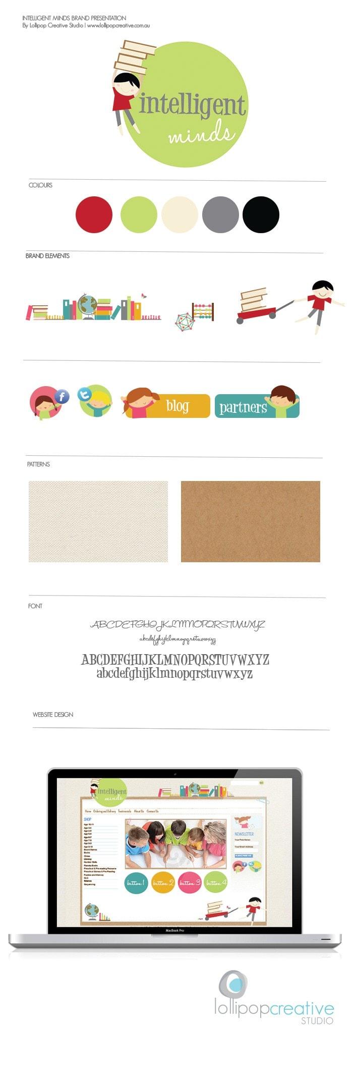 Intelligent Mind logo design, web design, stationery
