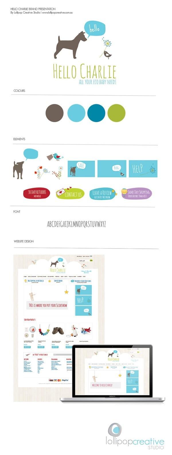 Hello Charlie baby logo, website design & brand board