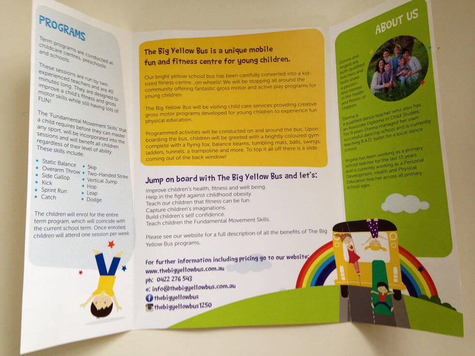 TBYB_IPADThe Big Yellow Bus Toddler & Preschool Gatefold Brochure Design