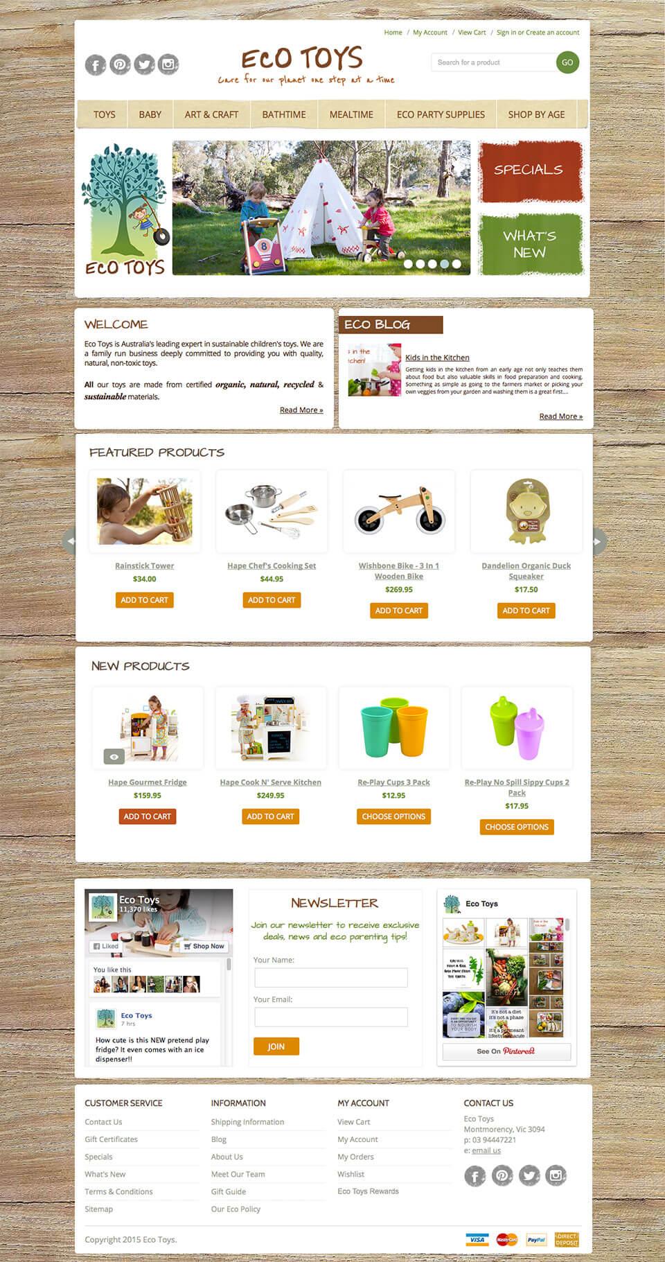 Ecotoys Children's BigCommerce Template design & development