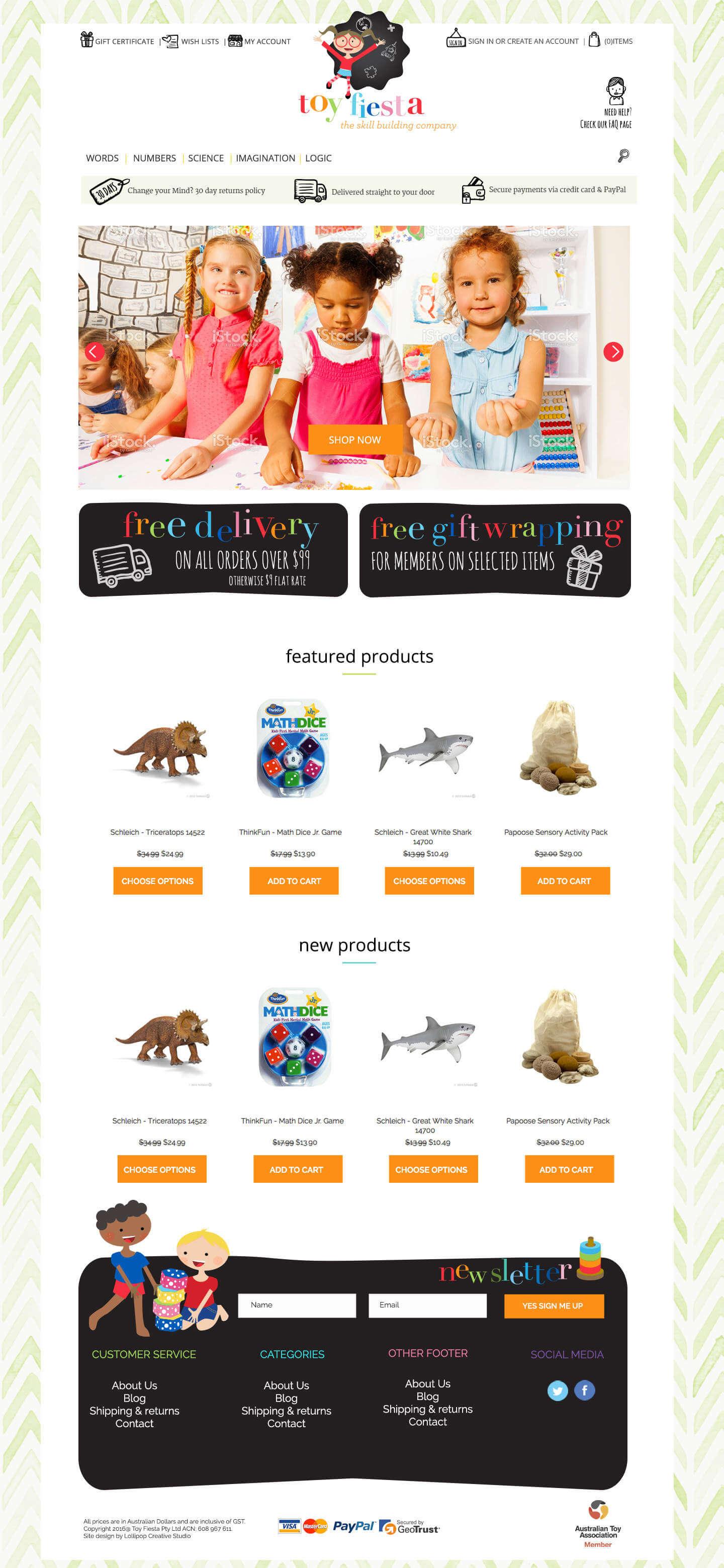 toy fiesta children's logo design