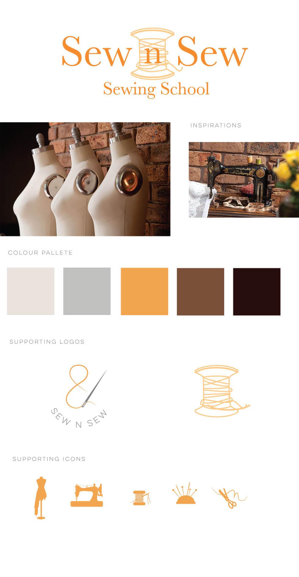 Sew n Sew Sewing School Logo and Branding Design