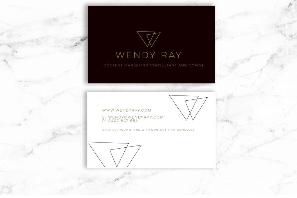 Wendy Ray business card design - front and back