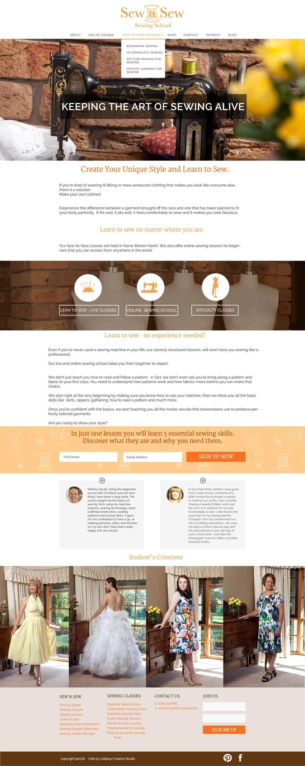 Sew n Sew Website Design
