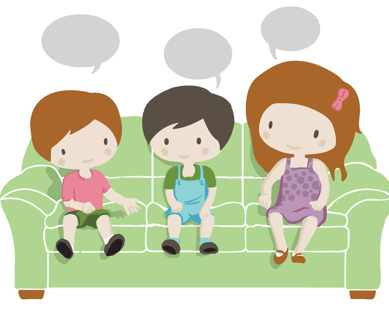Kids talking on the lounge illustration for Kids Book Therapy Psychologist