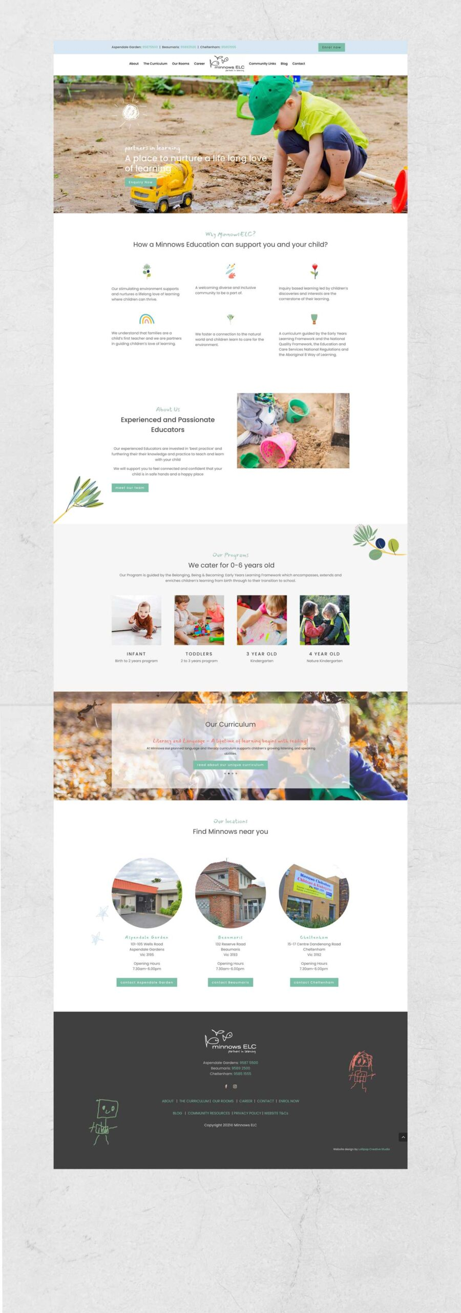 Homepage Web Design Elc Childcare Minnows 02