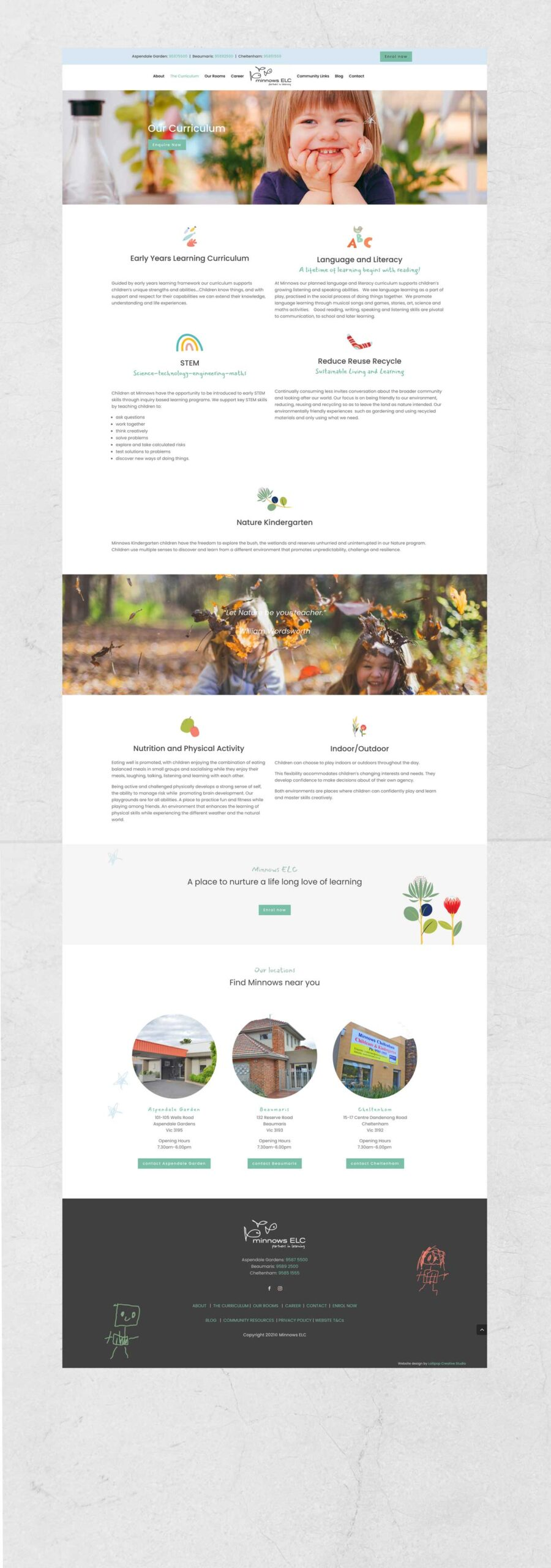 Homepage Web Design Elc Childcare Minnows Service Page