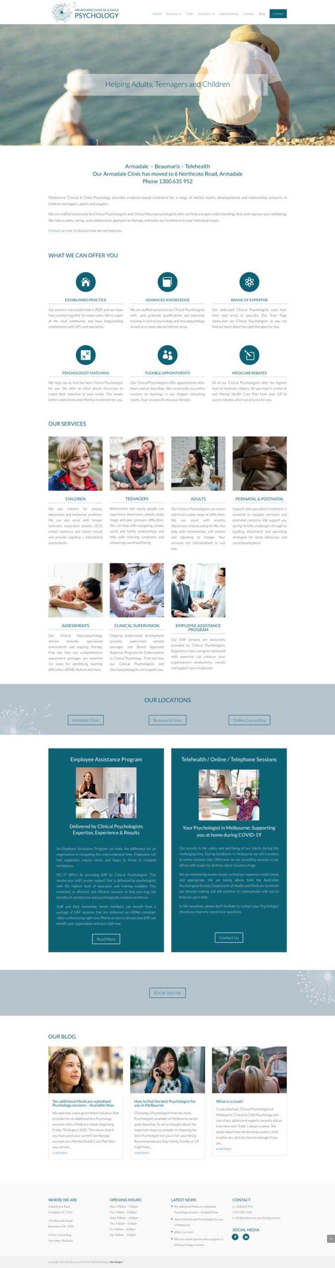 melbourne clinical & child psychology website design cheltenham