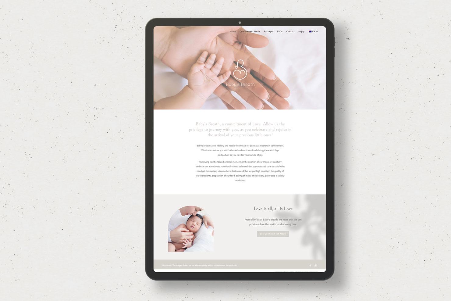 babys breath health confinement meal website design