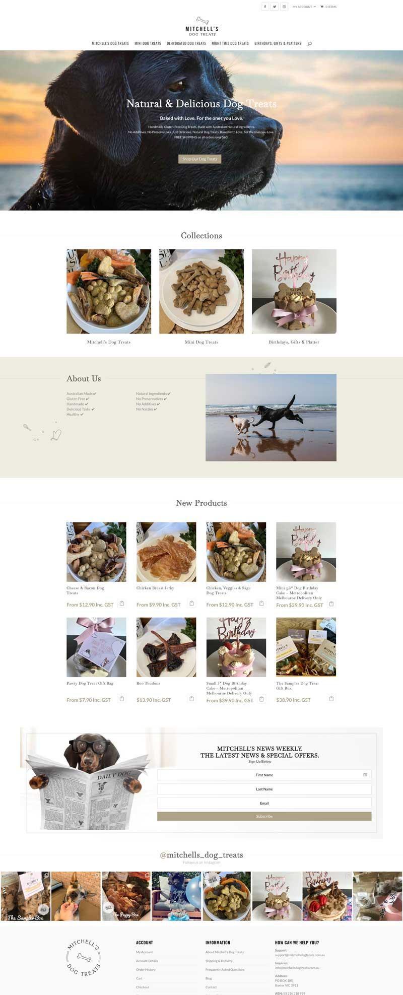 mitchells dog treats homepage.