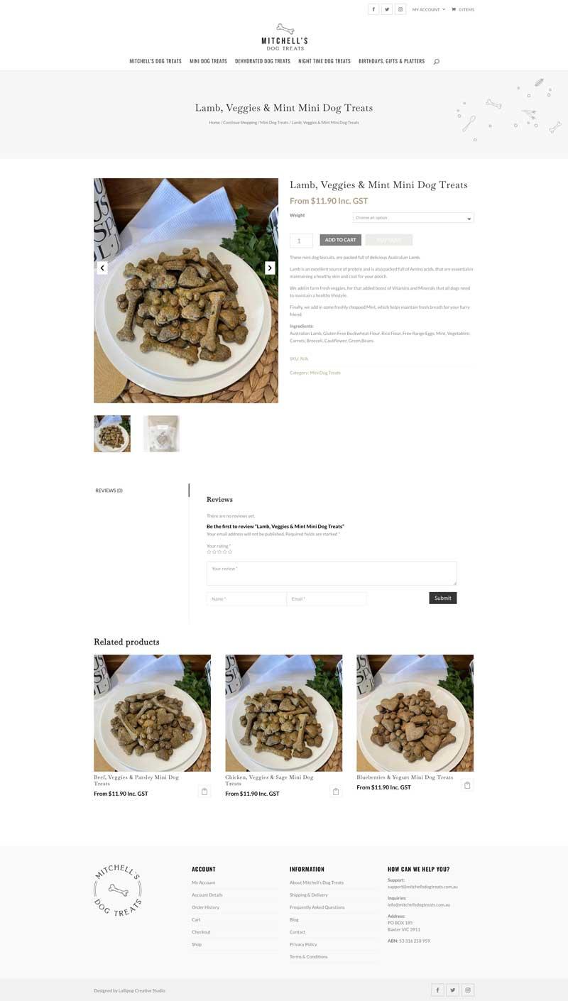 mitchells dog treats product page