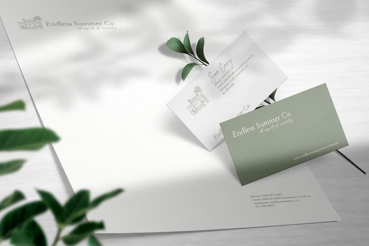 endless summer co carpentry business card design