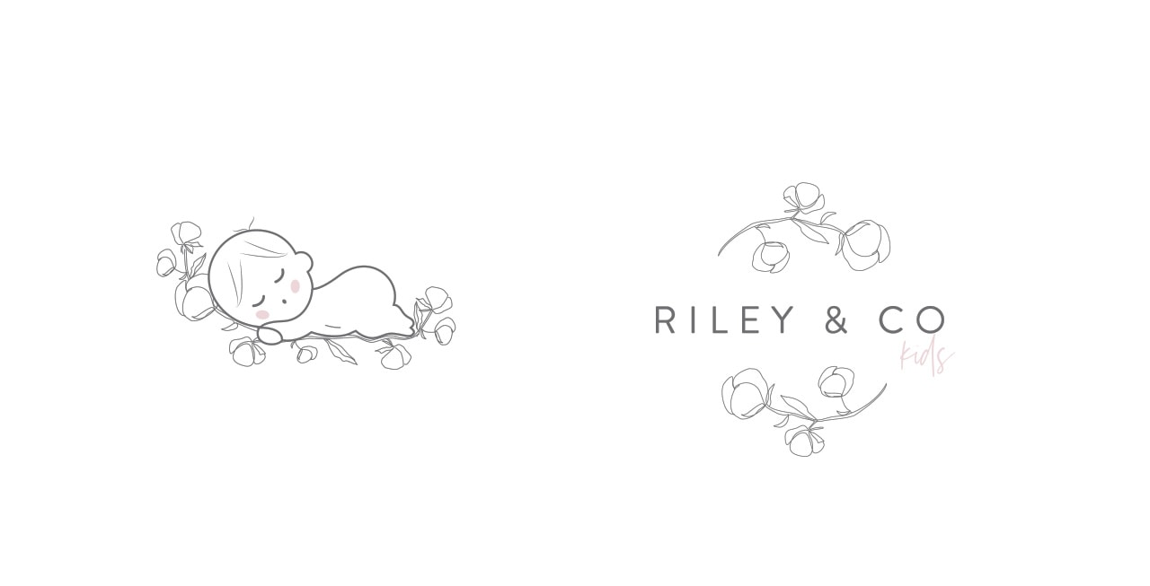 riley and kids co baby logo design