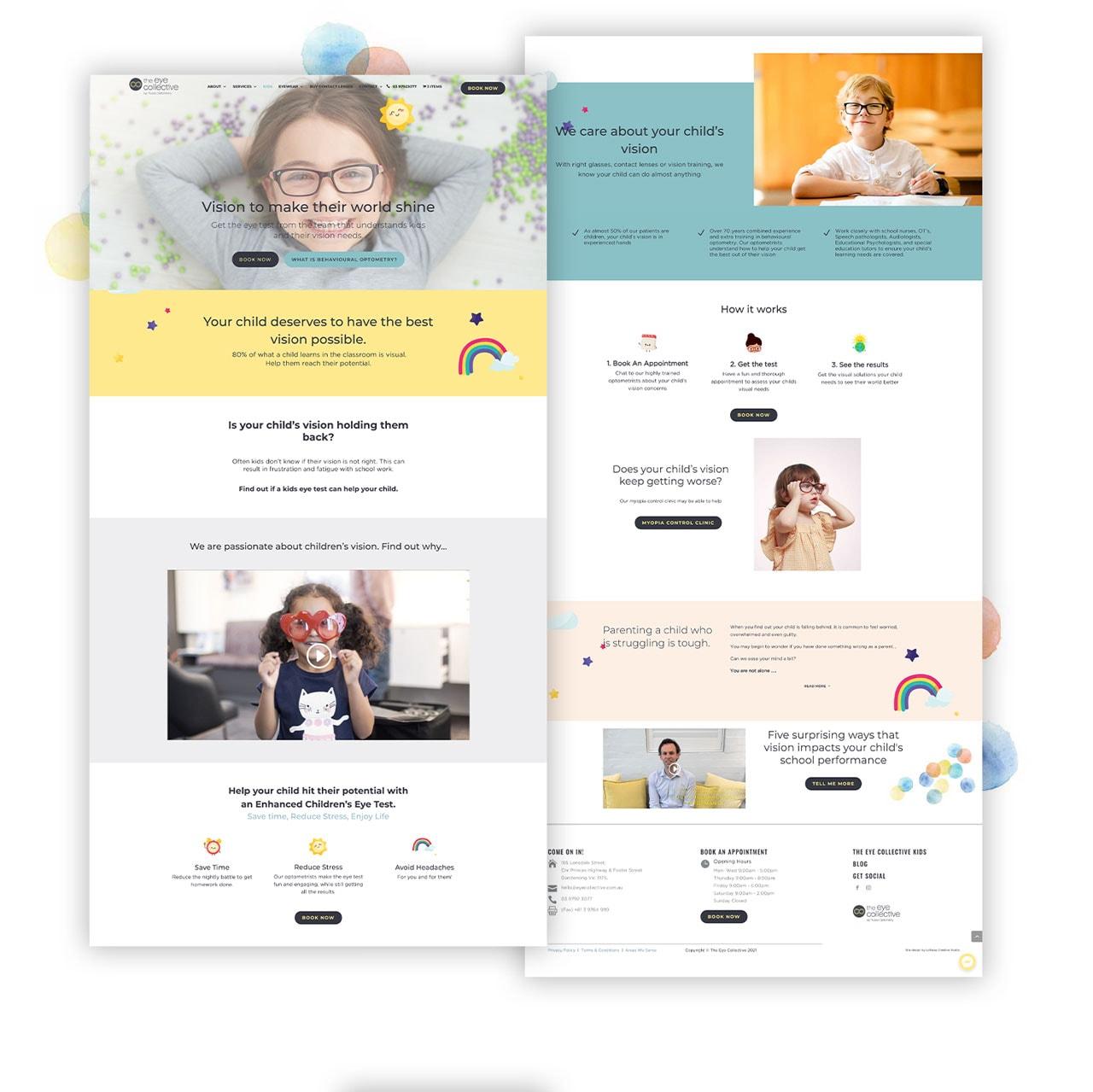 eyecollective optometry for kids website design