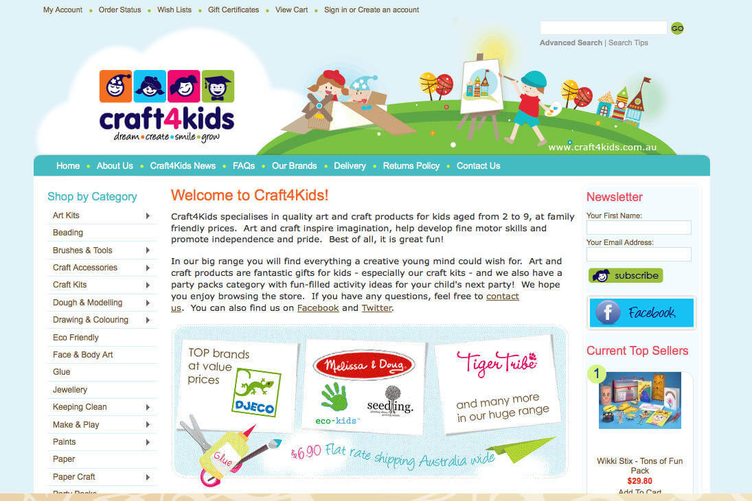 Web Design portfolio: Craft4Kids